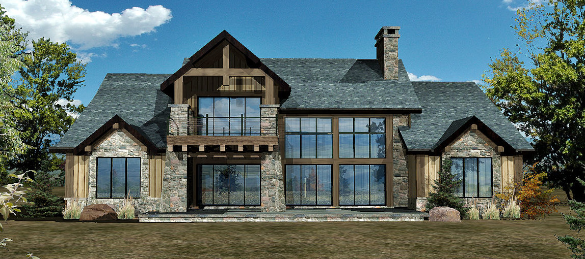 Harbor Cove - Rear Rendering by Wisconsin Log Homes 2