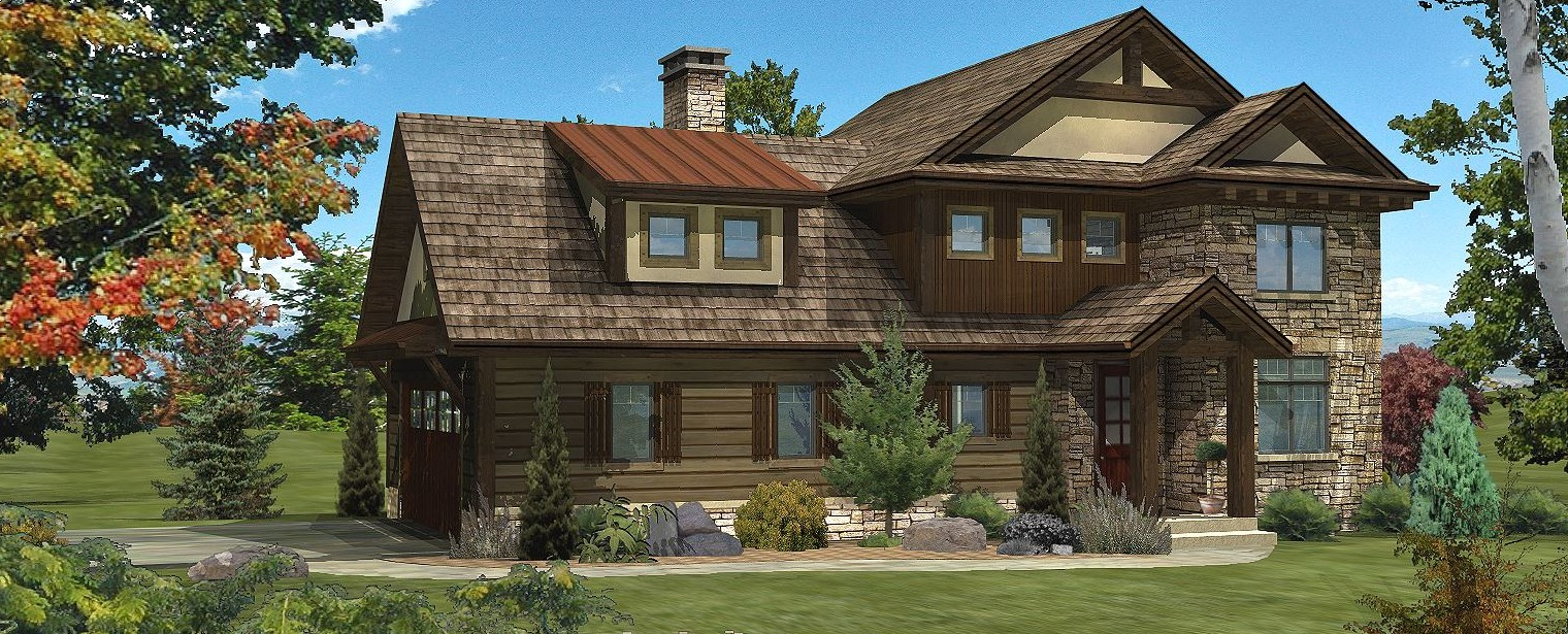 Huntington Pointe - Front Rendering by Wisconsin Log Homes 1