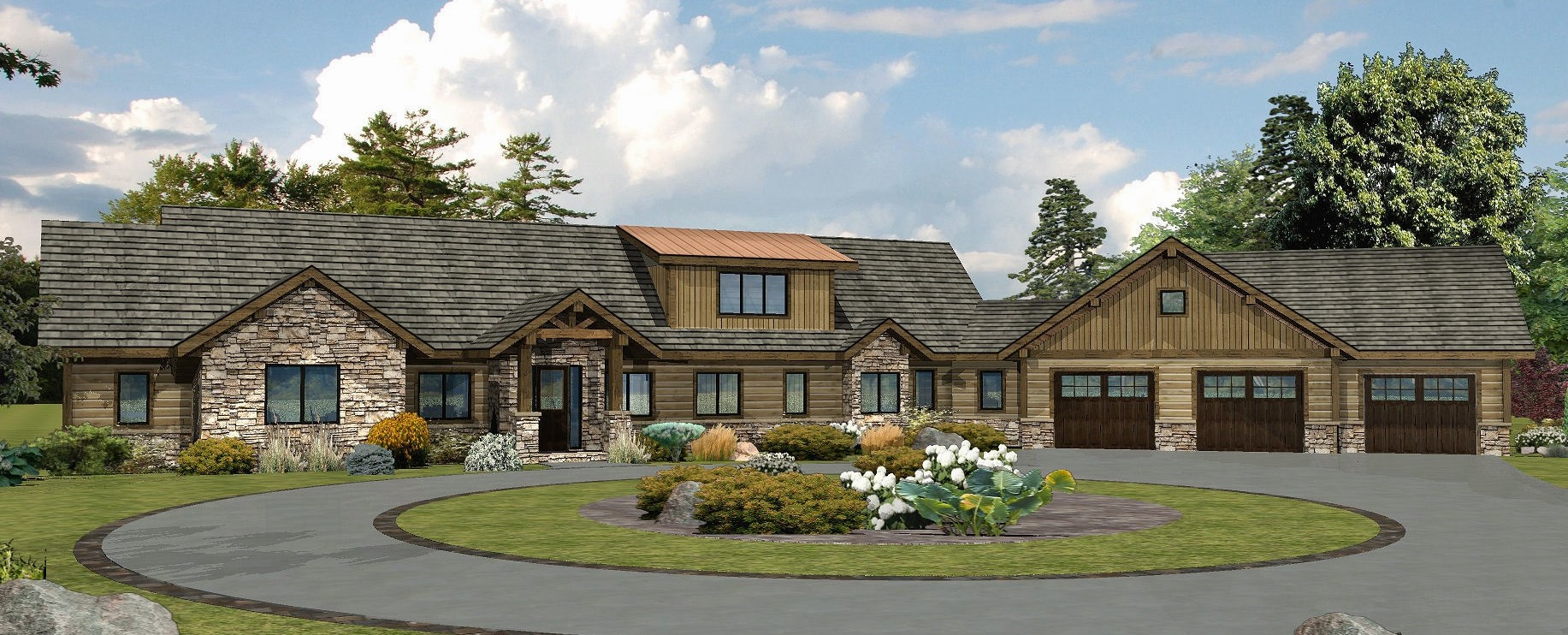 Montero Ranch - Front Rendering Log - Wisconsin Log Homes Inc