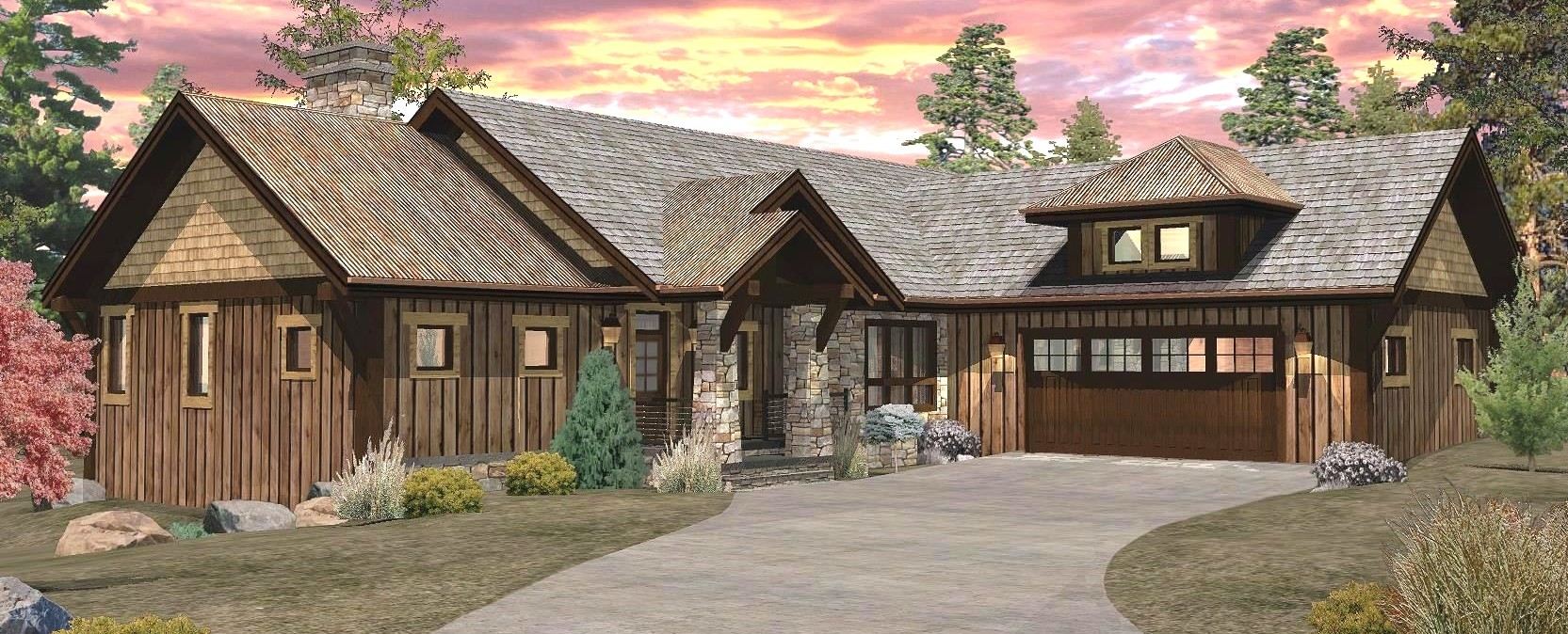 Pinecone - Front Rendering by Wisconsin Log Homes 1