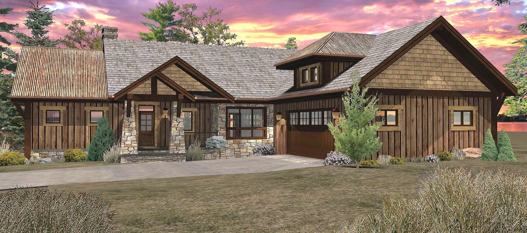 Pinecone - Front Rendering by Wisconsin Log Homes 2