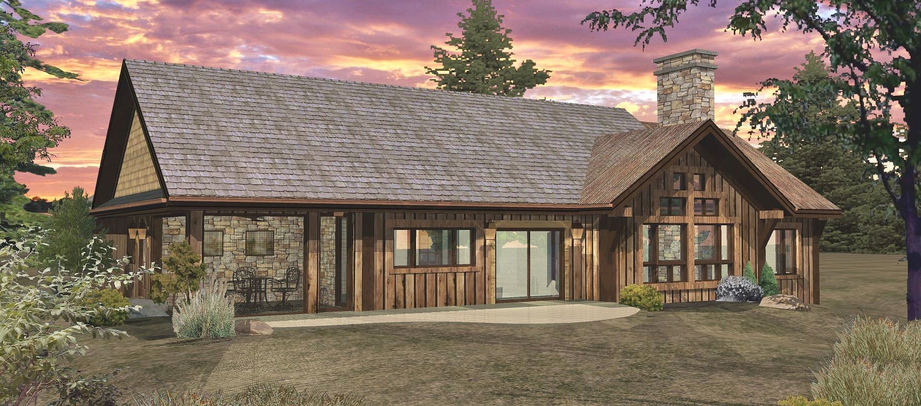Pinecone - Rear Rendering by Wisconsin Log Homes 1