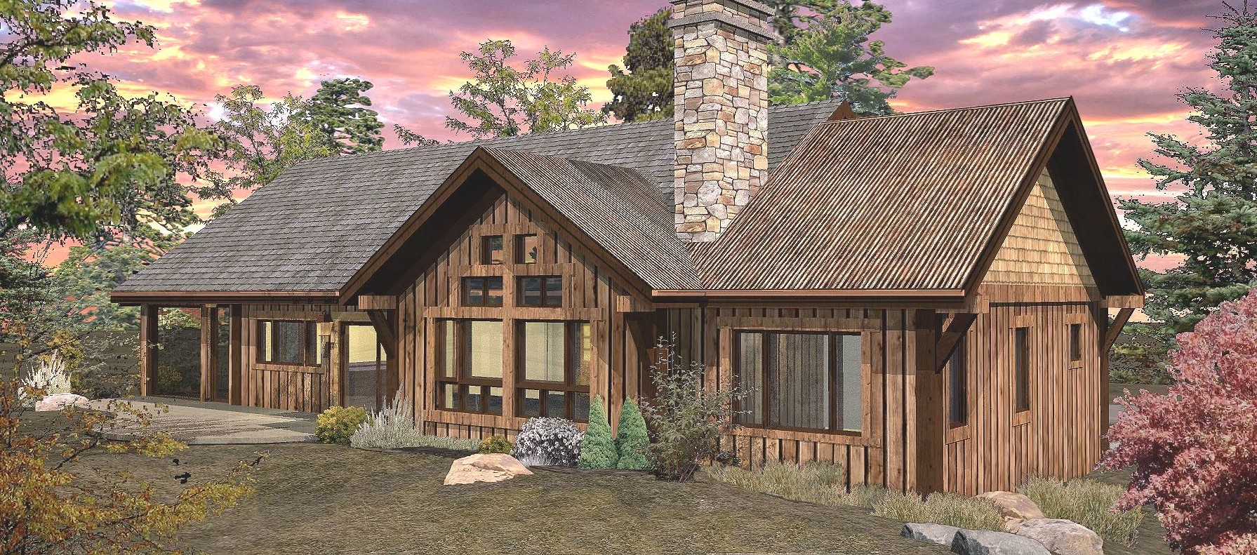 Pinecone - Rear Rendering by Wisconsin Log Homes 2