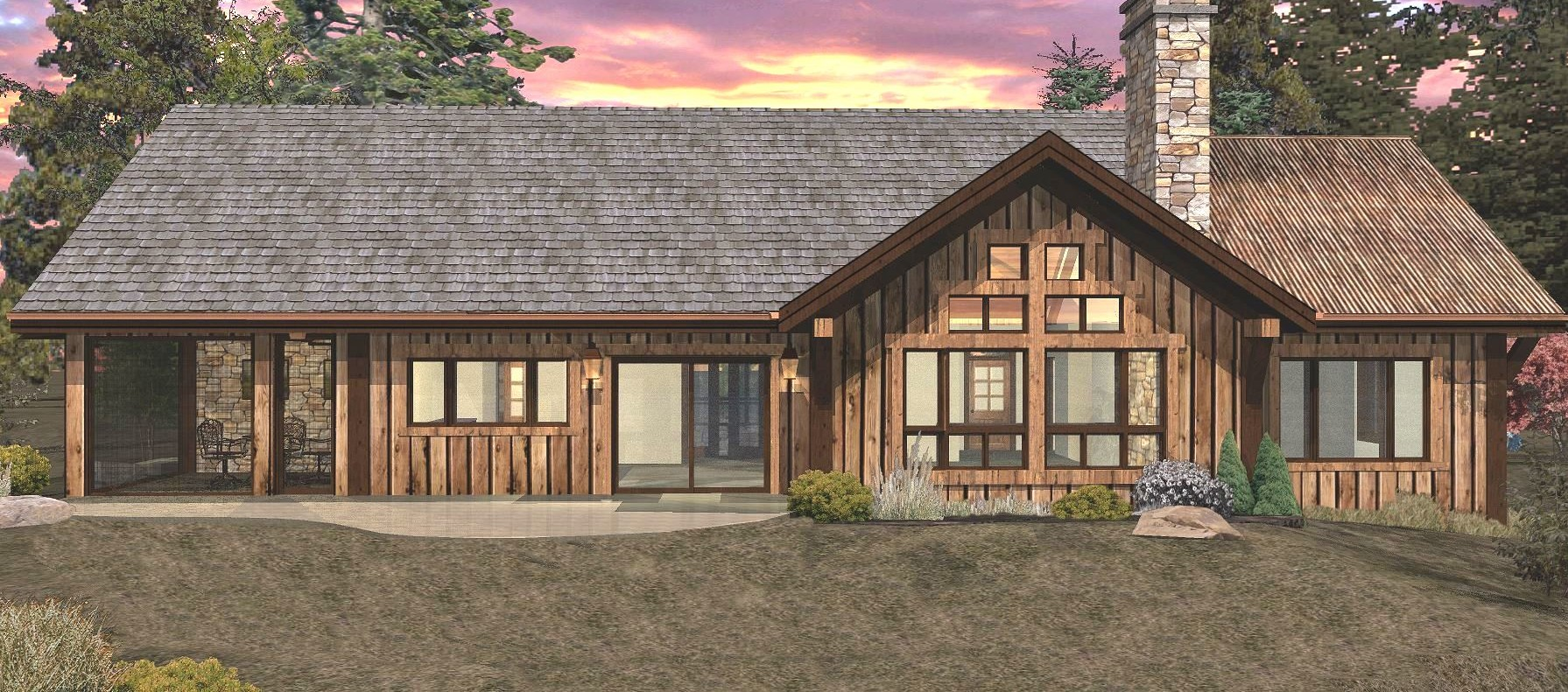 Pinecone - Rear Rendering by Wisconsin Log Homes 3