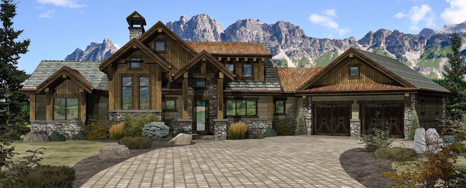 Rocklin - Front Rendering by Wisconsin Log Homes 2
