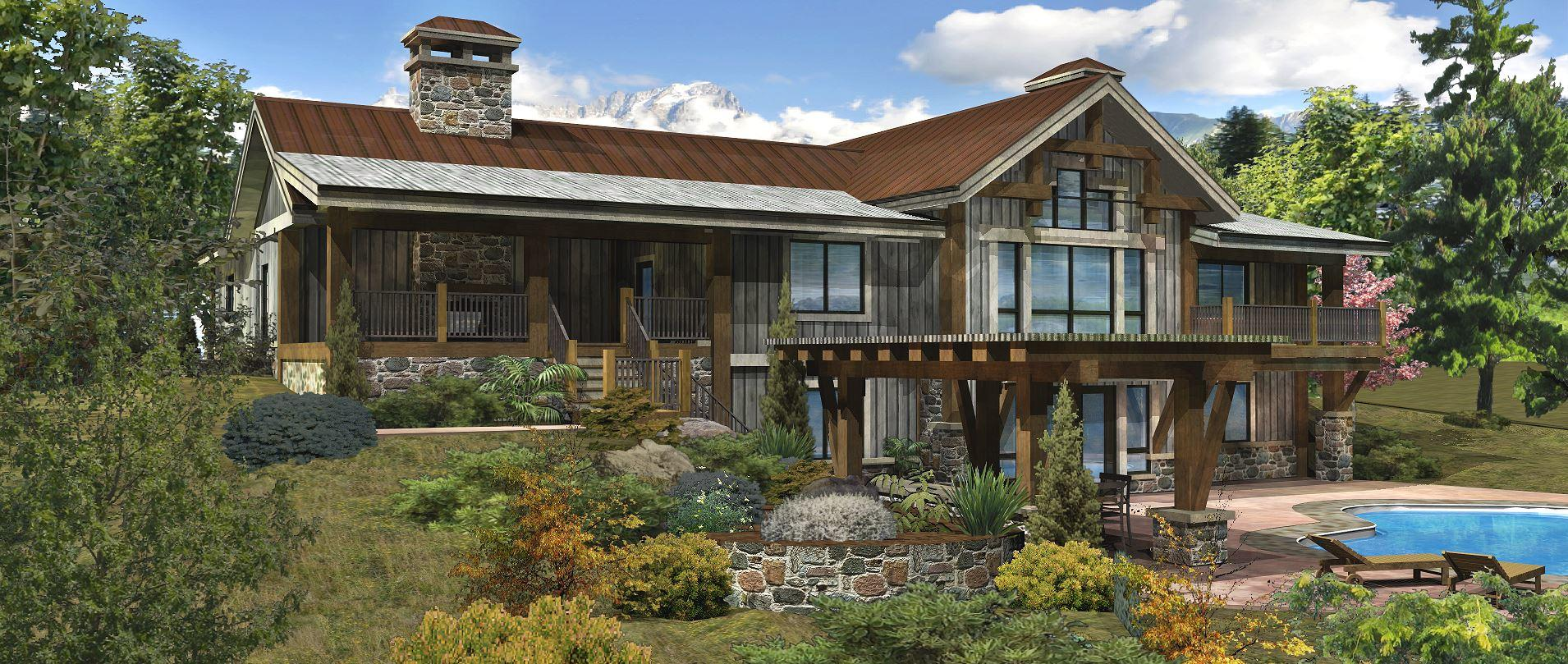 Bear River - Rear Rendering by Wisconsin Log Homes 3