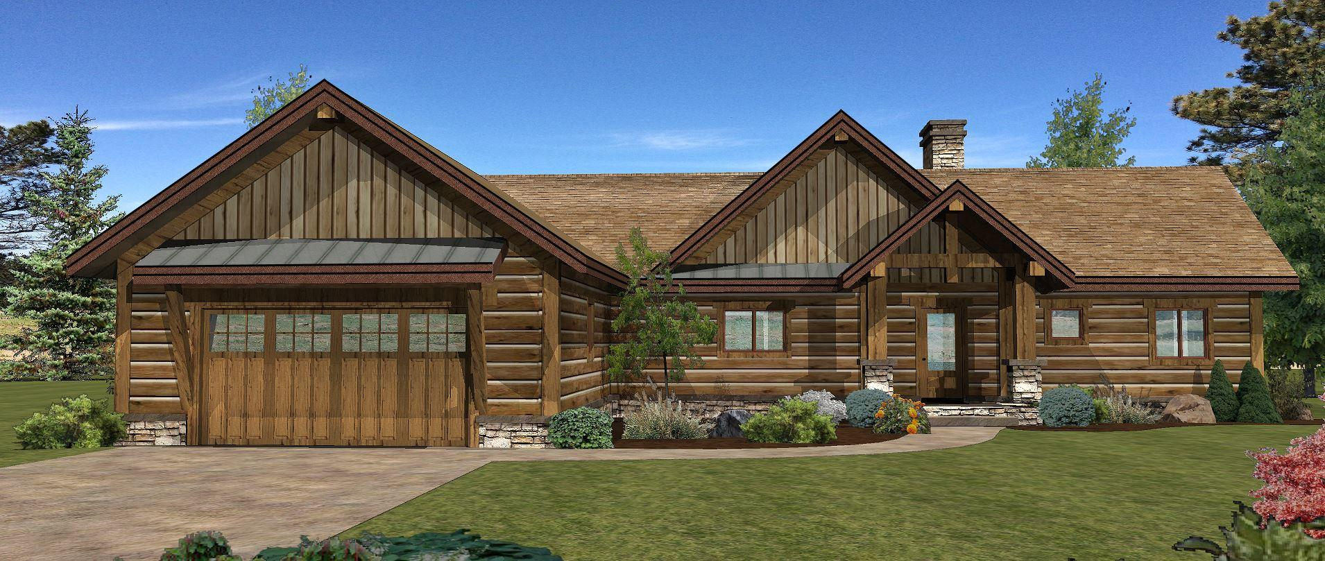 Foxpoint - Front Rendering by Wisconsin Log Homes 2