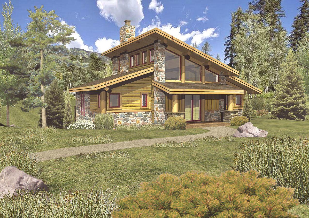 Grandview II - Front Rendering by Wisconsin Log Homes