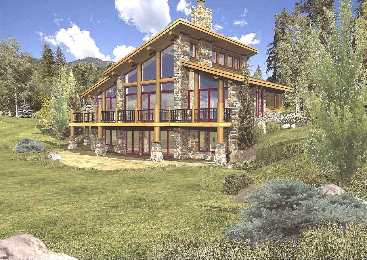 Grandview II - Rear Rendering by Wisconsin Log Homes
