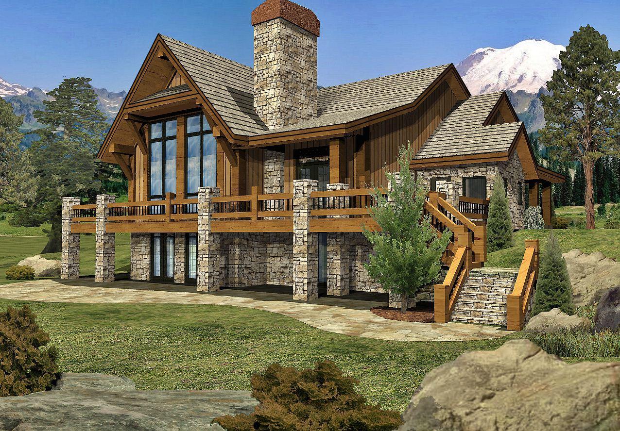 Grayson Peak II - Rear Renderings by Wisconsin Log Homes Inc 1