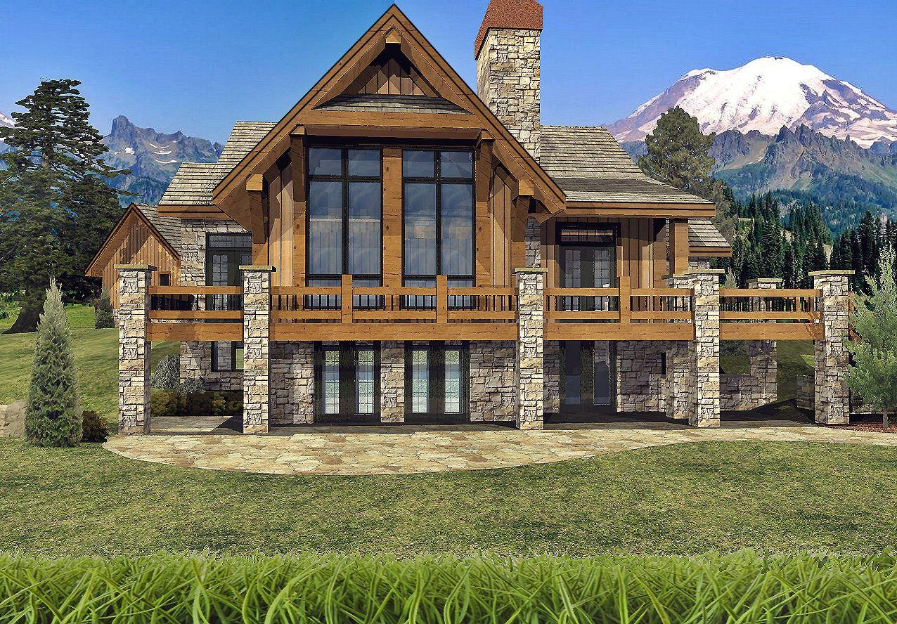 Grayson Peak II - Rear Renderings by Wisconsin Log Homes Inc 2