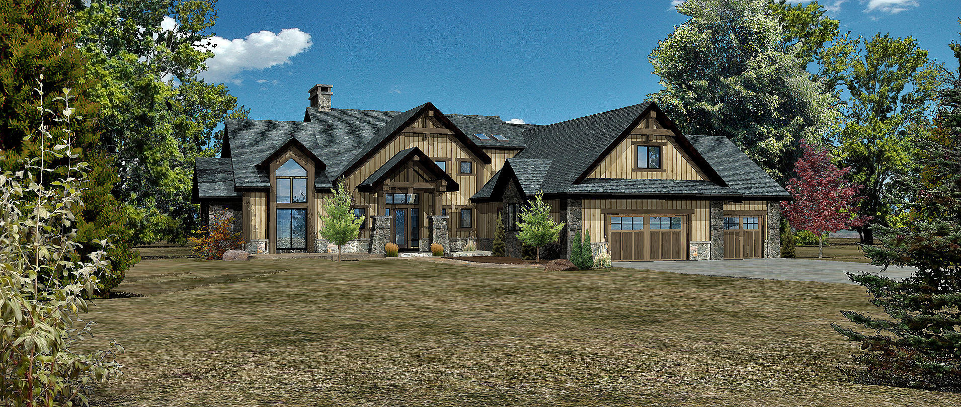 Harbor Cove - Front Rendering by Wisconsin Log Homes