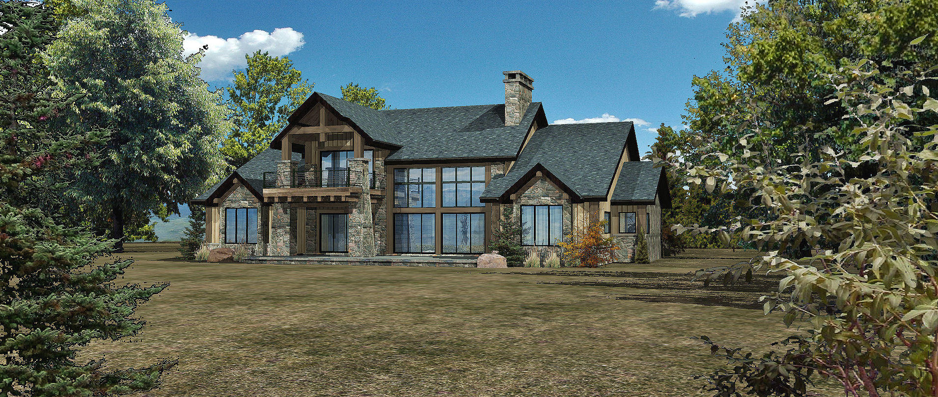 Harbor Cove - Rear Rendering by Wisconsin Log Homes