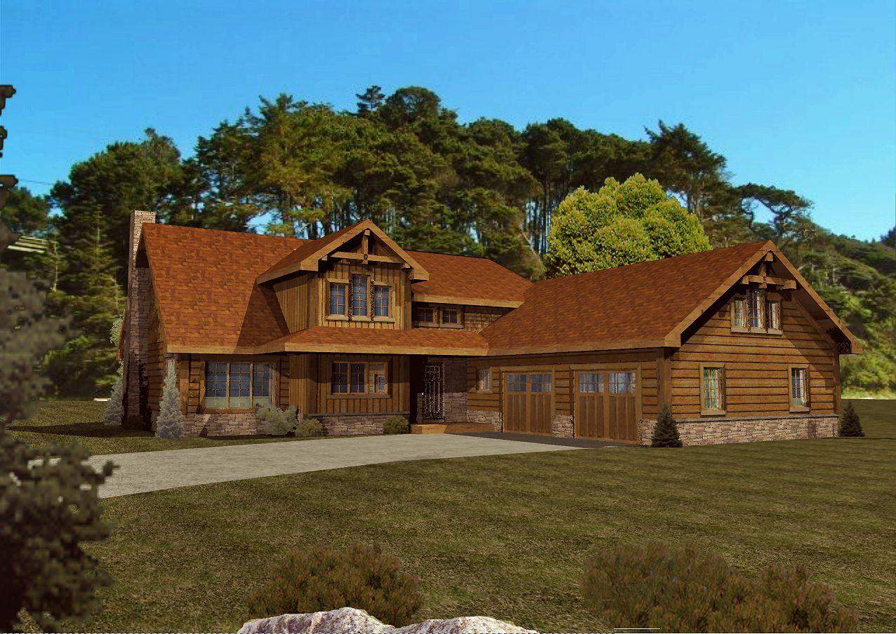 Haven Cove - Front Rendering by Wisconsin Log Homes Inc 1