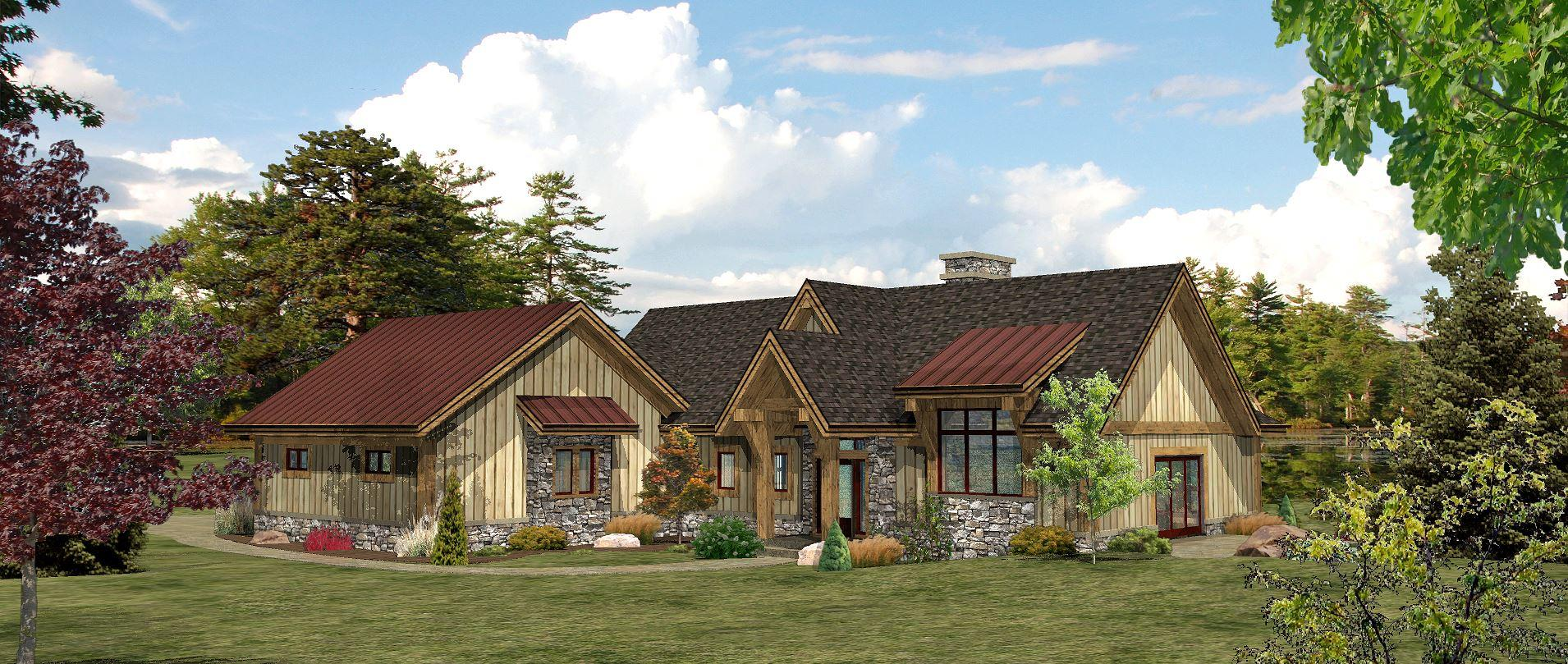 Lakefront - Front Rendering by Wisconsin Log Homes 1
