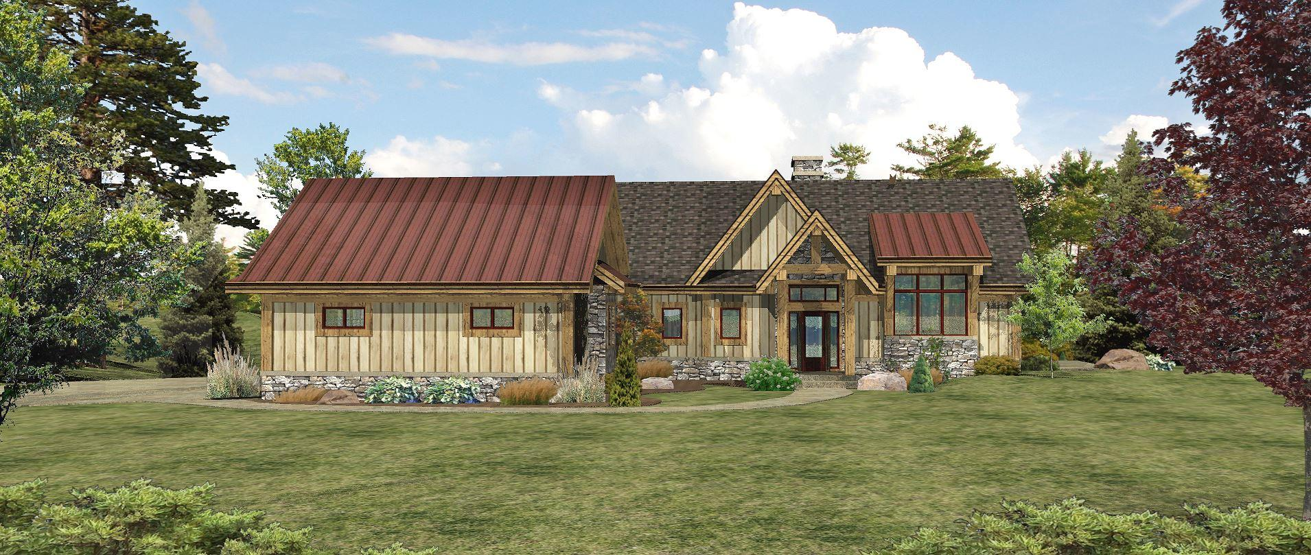 Lakefront - Front Rendering by Wisconsin Log Homes 2