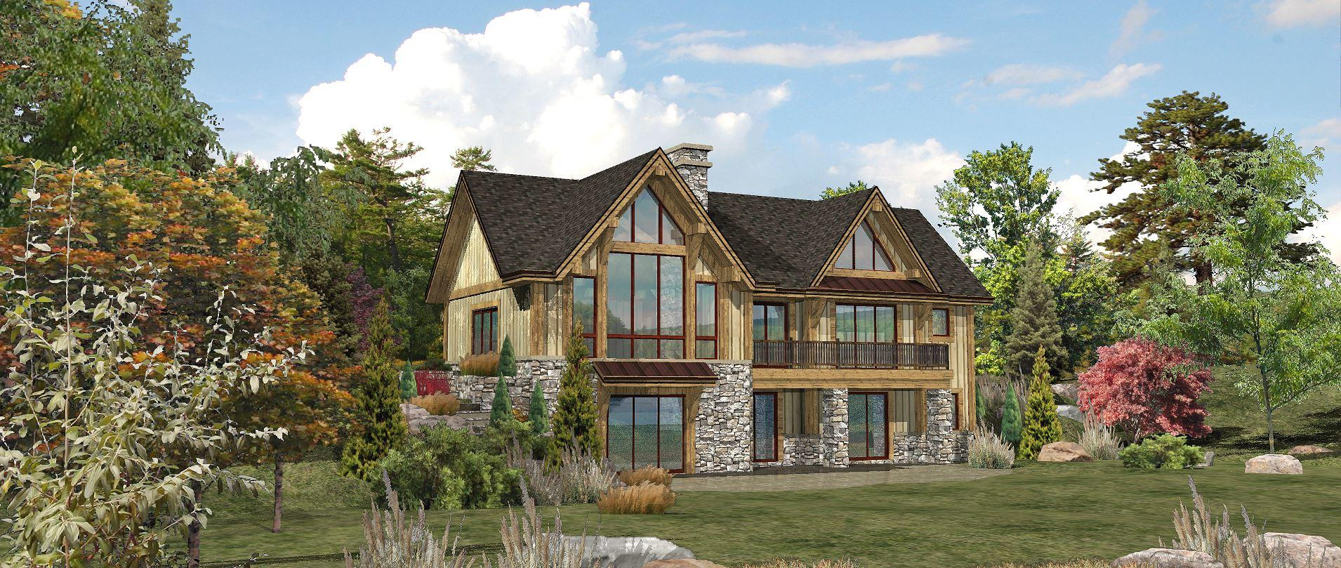 Lakefront - Rear Rendering by Wisconsin Log Homes 1