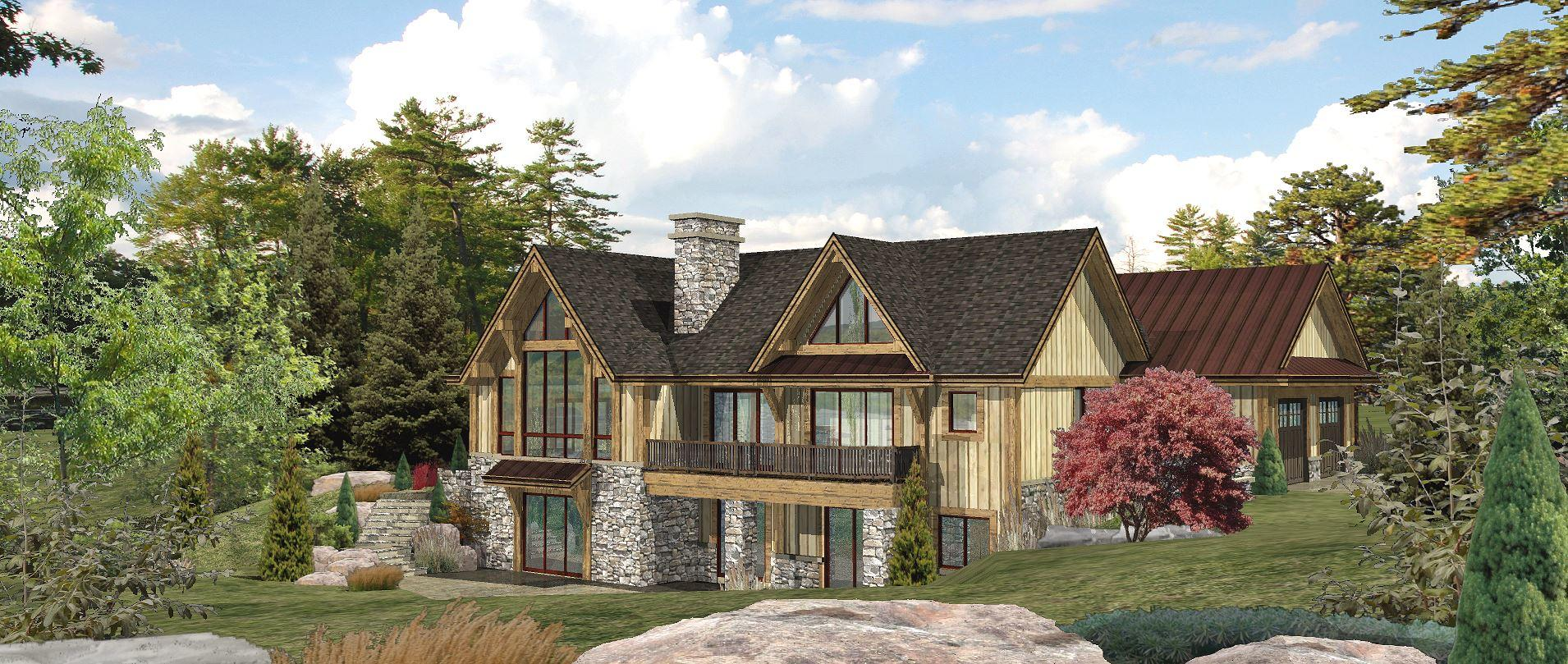 Lakefront - Rear Rendering by Wisconsin Log Homes 2