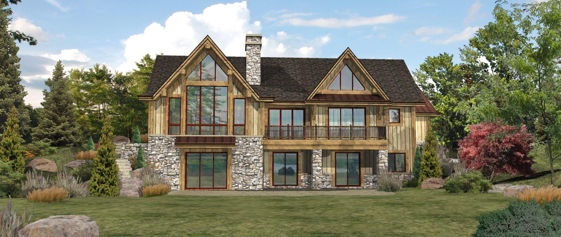 Lakefront - Rear Rendering by Wisconsin Log Homes 3
