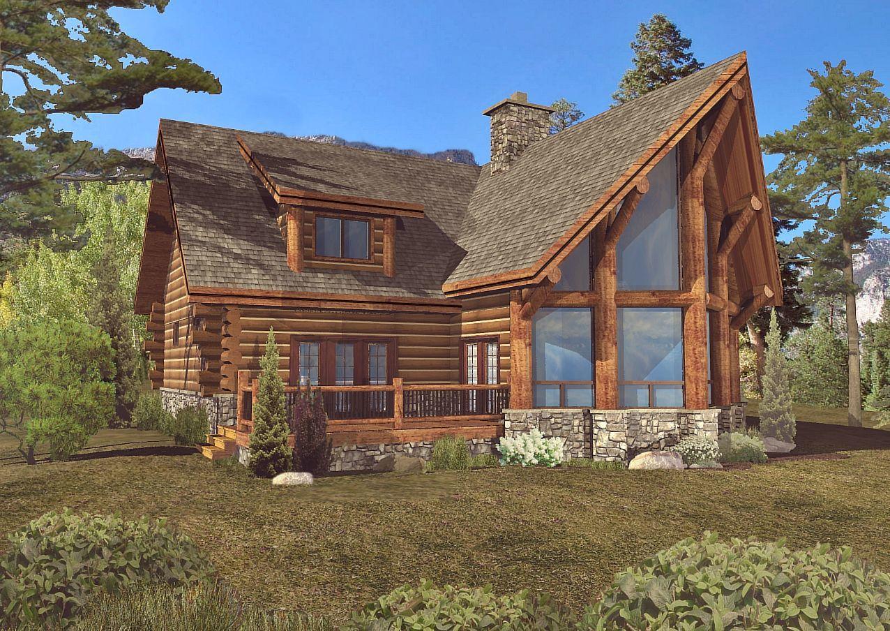 Laredo - Rear Rendering by Wisconsin Log Homes