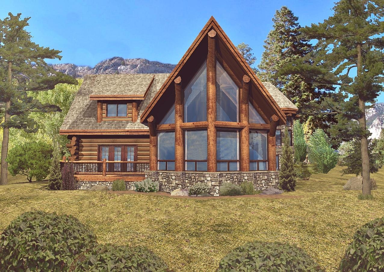 Laredo - Rear Rendering by Wisconsin Log Homes 2