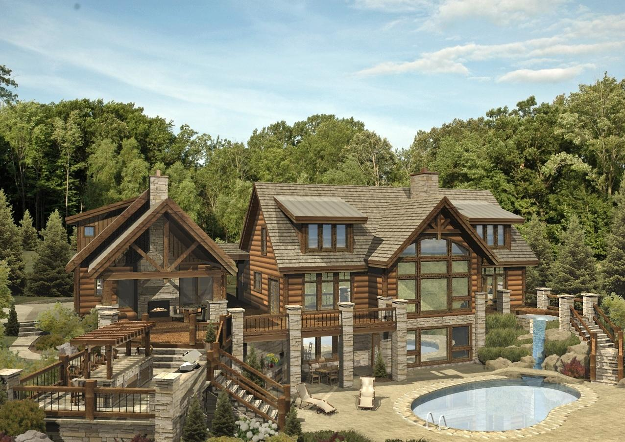 St. Claire II - Rear Rendering by Wisconsin Log Homes Inc 1