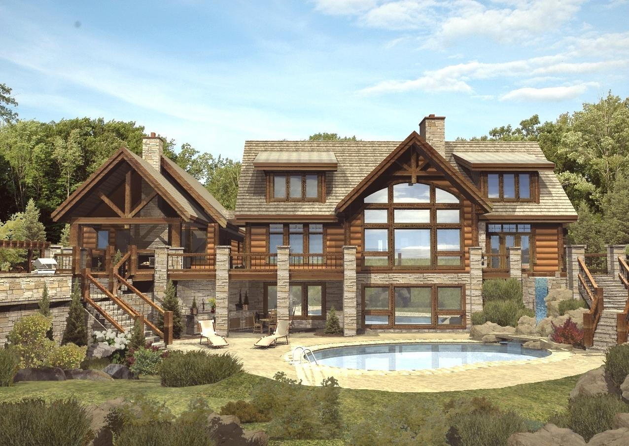 St. Claire II - Rear Rendering by Wisconsin Log Homes Inc 2