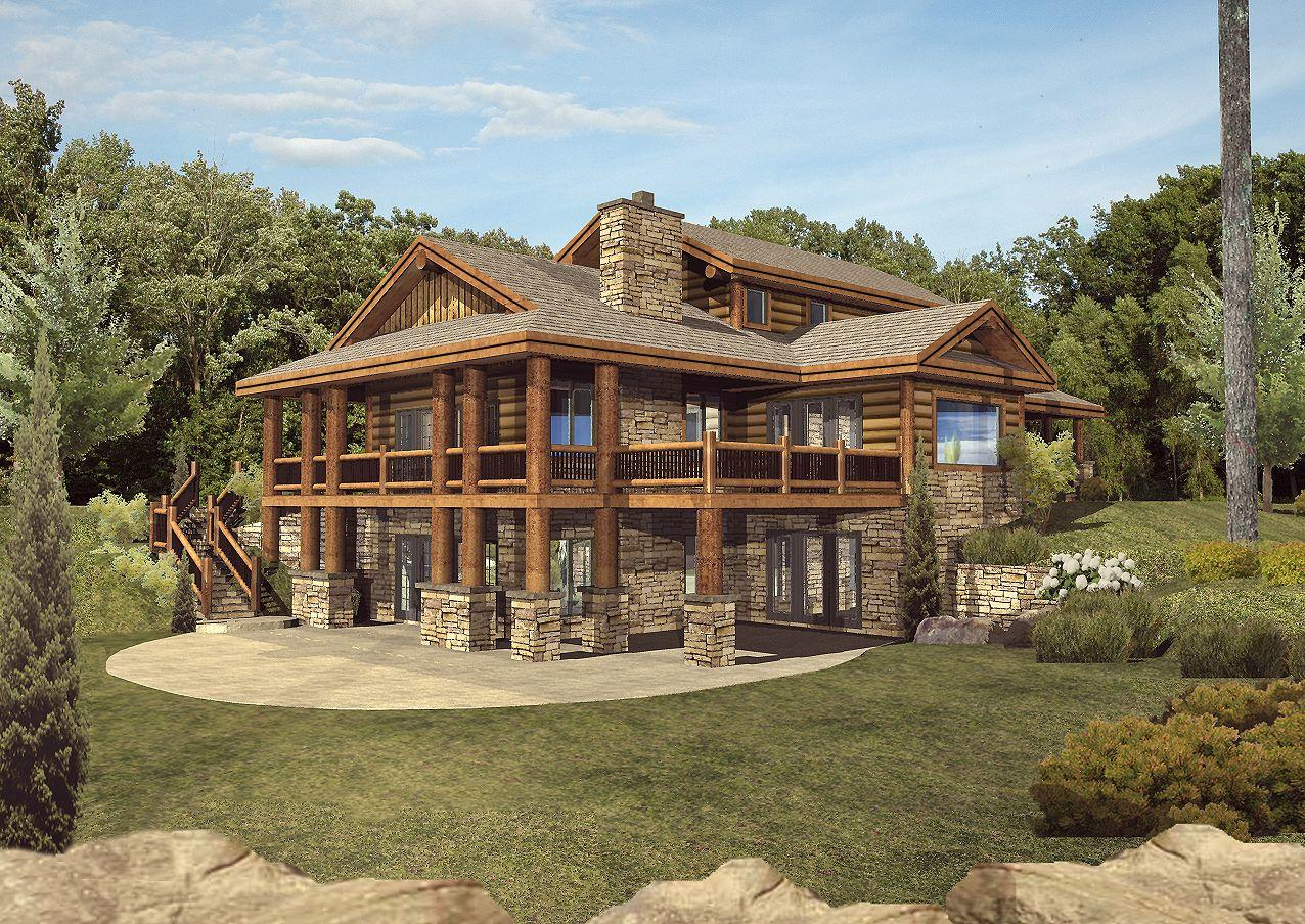 Star Valley - Front Rendering by Wisconsin Log Homes