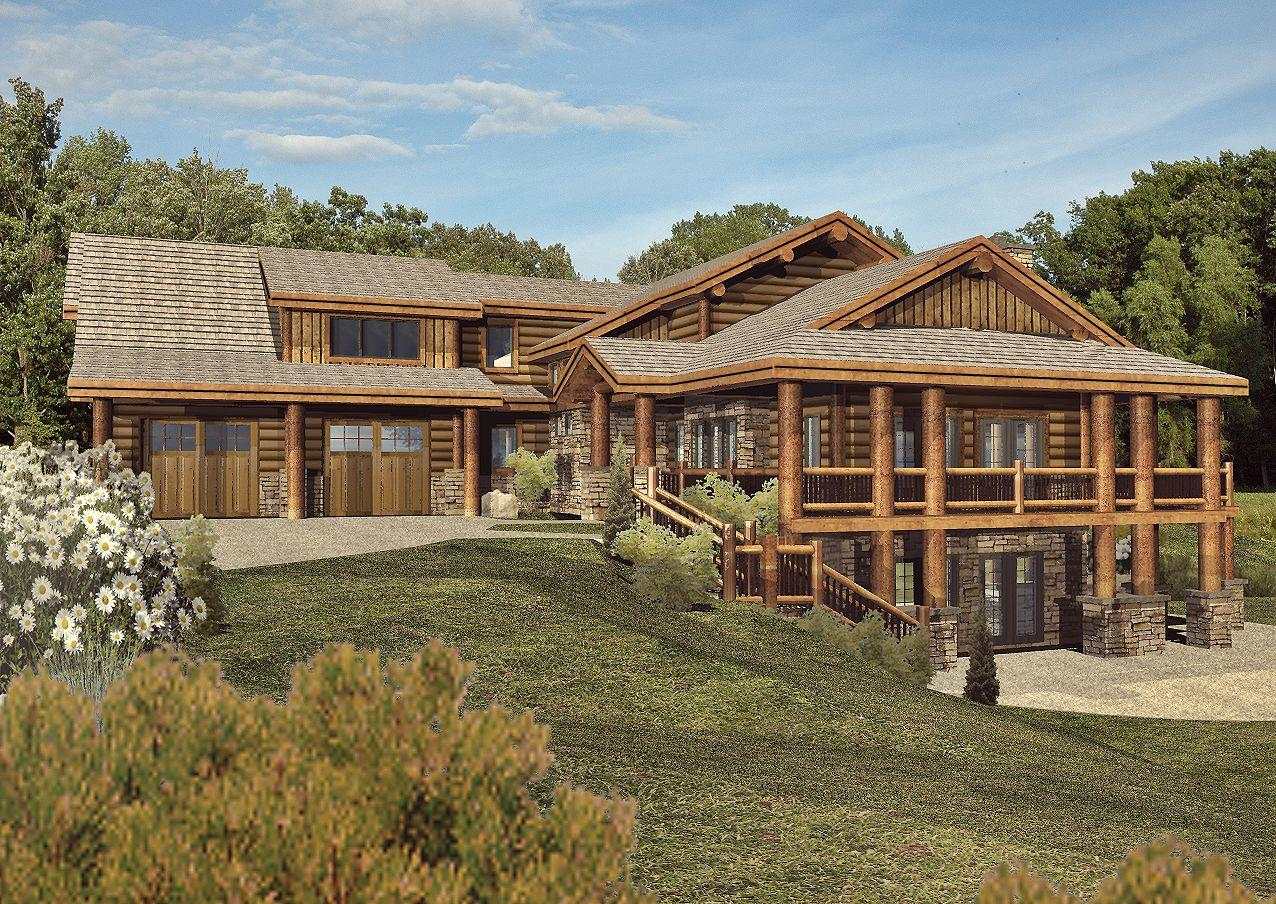 Star Valley - Front Rendering by Wisconsin Log Homes 1