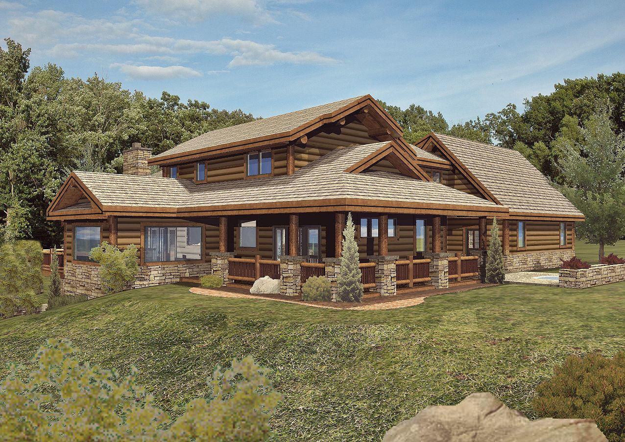 Star Valley - Rear Rendering by Wisconsin Log Homes