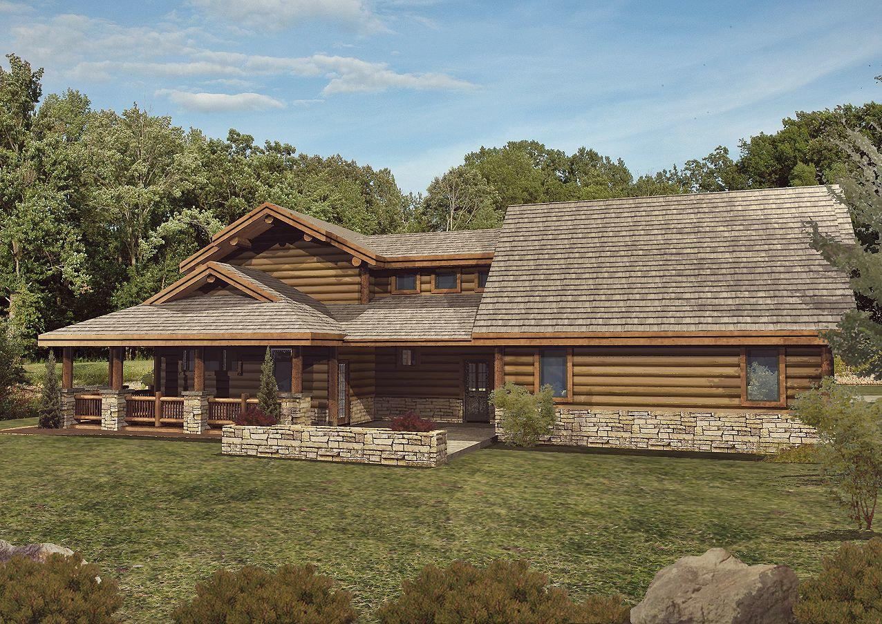 Star Valley - Rear Rendering by Wisconsin Log Homes 1