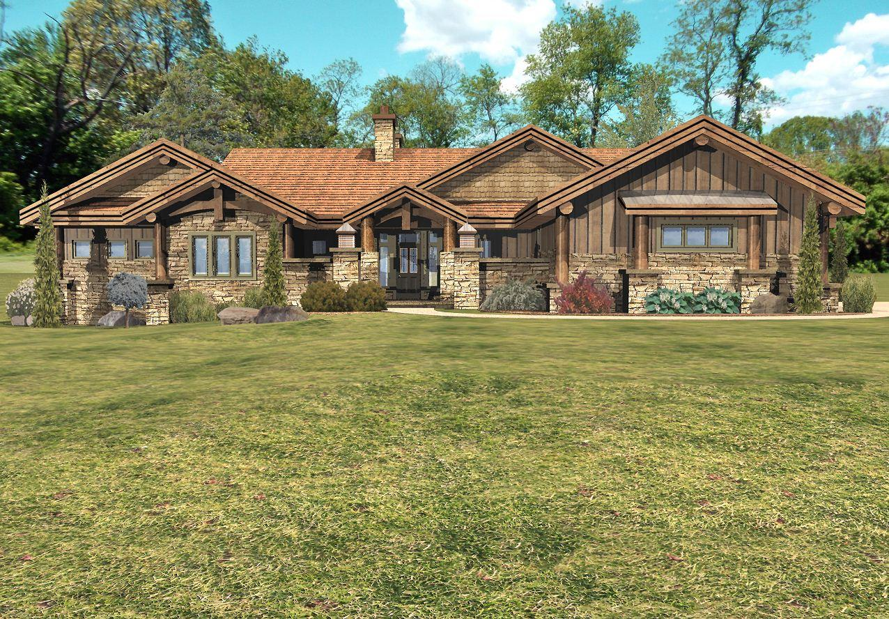 Stillwater - Front Rendering by Wisconsin Log Homes