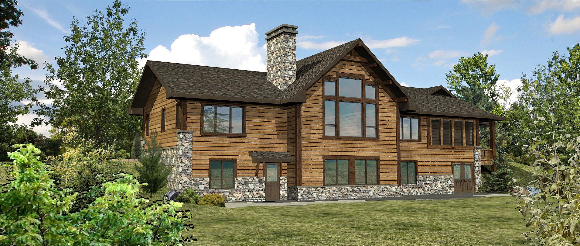 Woodruff - Rear Rendering by Wisconsin Log Homes